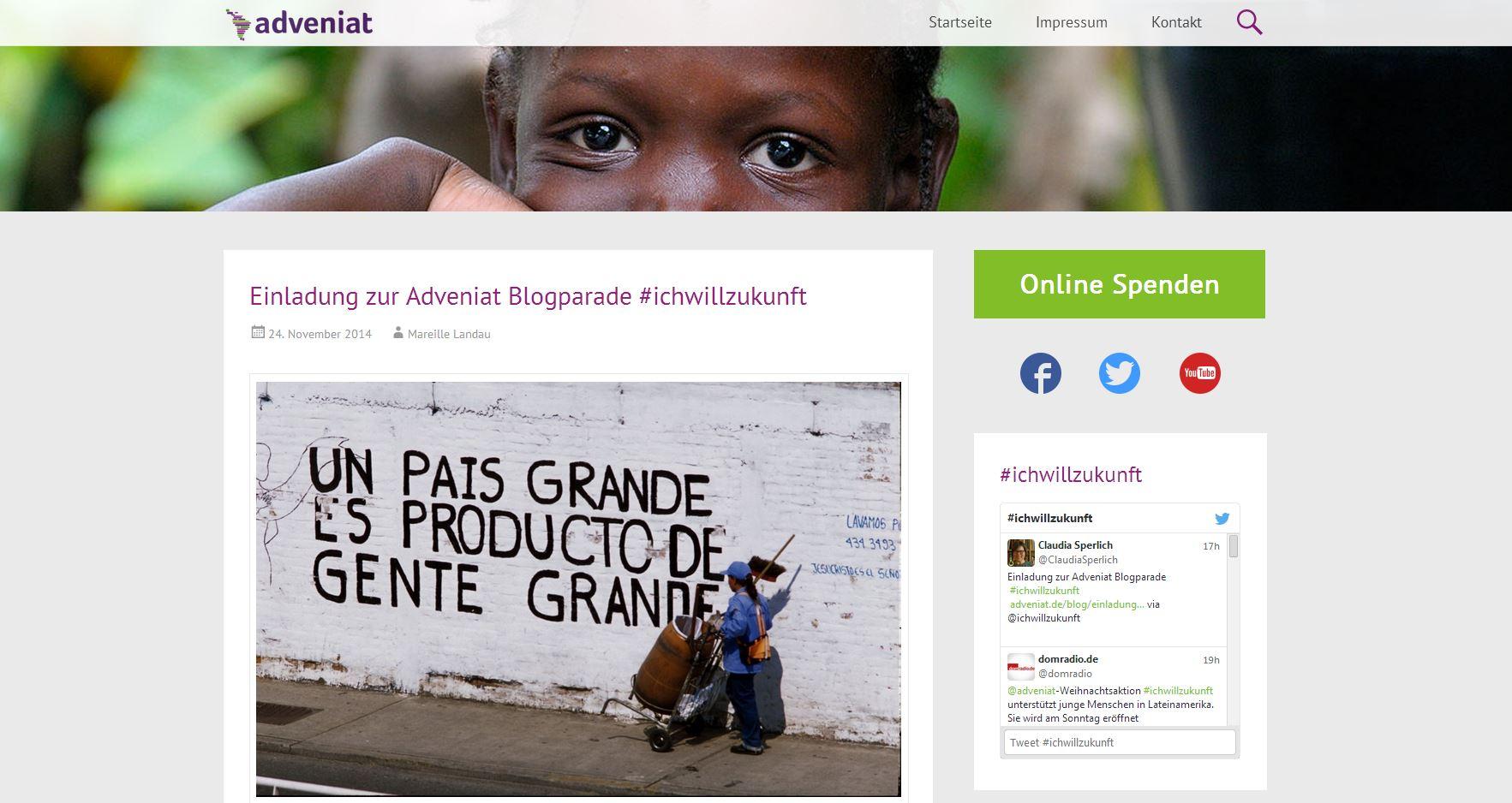 Adveniat – Blogparade